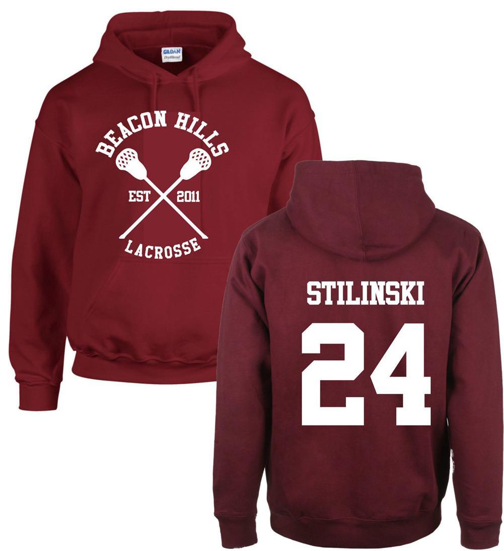 Mode Teen Wolf Hoodies Leuchtfeuer Hills Lacrosse Stiles Stilinski Hoody Mädchen Junge Erwachsene Fleece Sweatshirt Maroon Unisex