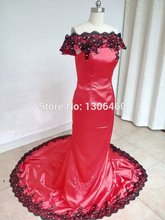 Vestidos De Formatura 2015 Real Sample Red Mermaid Schwarz Spitze Appliqued Abschlussball-partei-kleid-abend-kleid Hohe Qualität