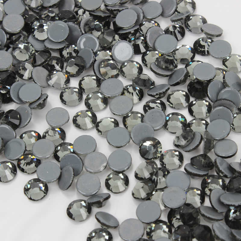 ... High Quality A++ Flatback Hotfix Rhinestones ss6-ss30 Black diamond  Adhesive Iron On Stones for ... 86c562cb1691
