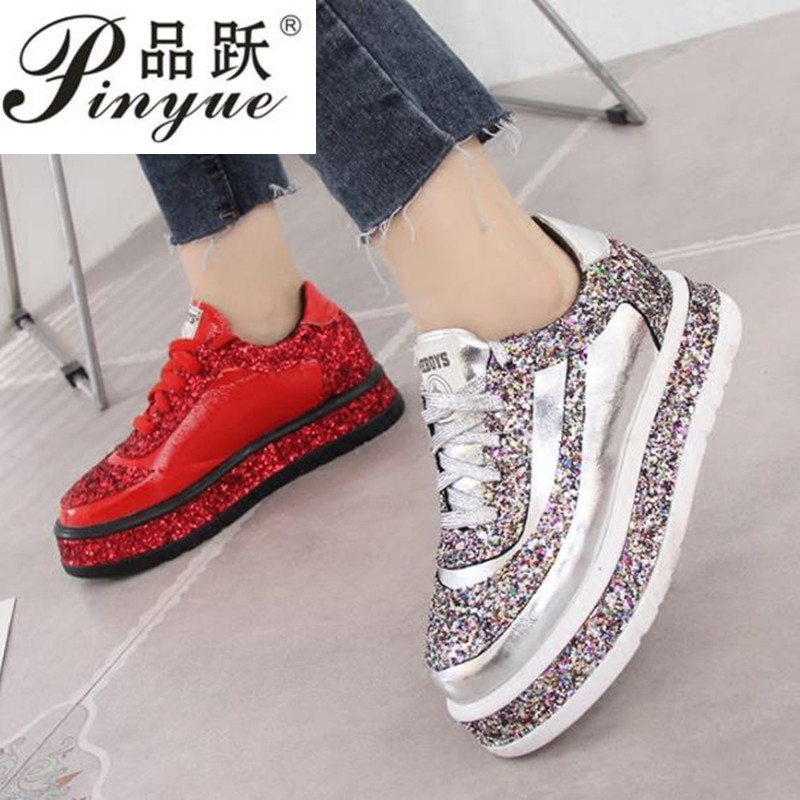 2019 Fashion Female Footwear Diamond Flats Casual Shoes Women Slip Sneakers Silver Loafers Crystal Leather Girl