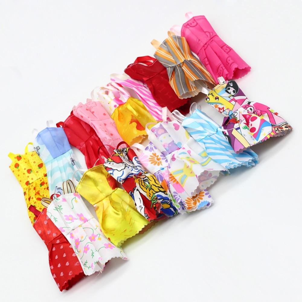 10pcs Mixed Kids Handmade Doll Dress for Barbie doll Fashion Fitness Party Mini clothes Dress eg039