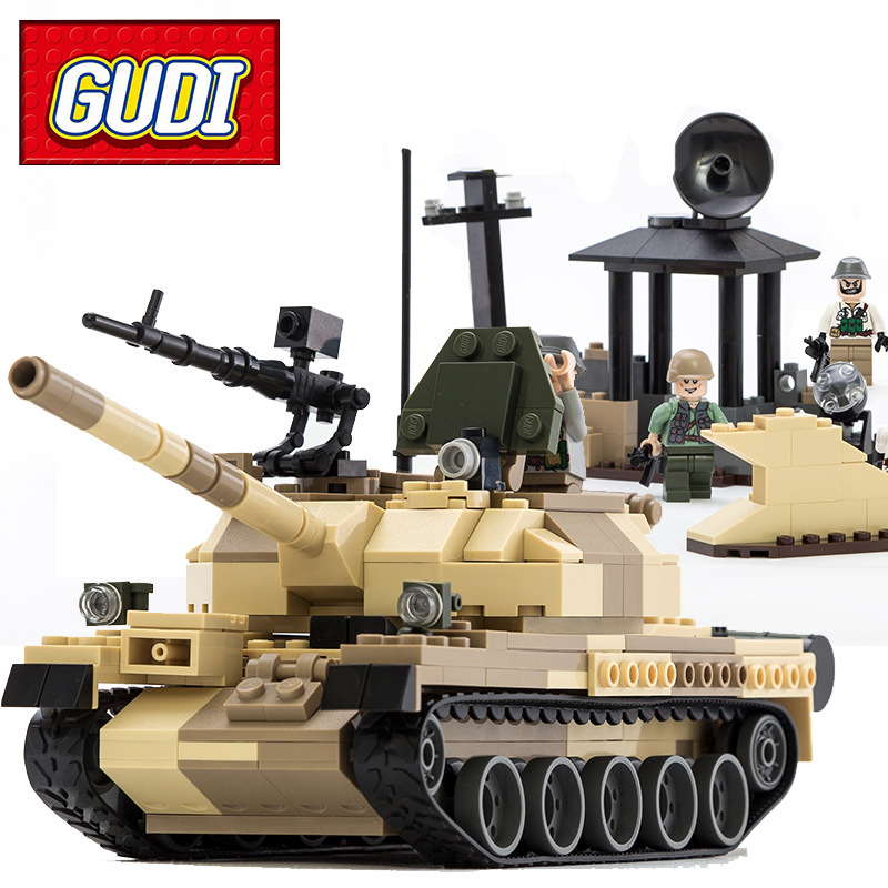 GUDI Military War Weapon Armed T-62 Tank 372pcs Building Blocks Sets Kids DIY Bricks Models Educational Toys For Children