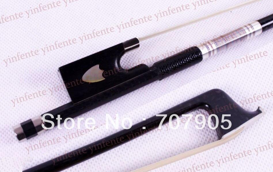 Violin Bow Carbon Fiber Shield inlaid Frog Silver Color Bow stringViolin Bow Carbon Fiber Shield inlaid Frog Silver Color Bow string