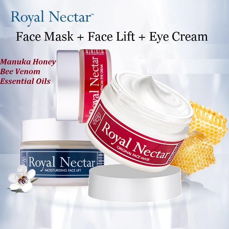 NewZealand RoyalNectar SkinCare Set Manuka Honey Bee Benom Essential Oils Face Mask Moisturising Face Lift Night Cream Eye Cream