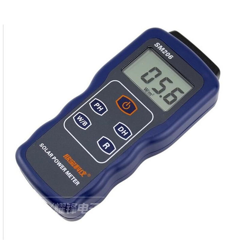 SM206 High Precision Solar Power Meter Light Intensity Measurement Radiation Tester g t power 130a 150a rc watt meter power analyzer digital lcd tester 12v 24v 36v high precision