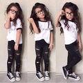Miúdos bonitos Do Bebê Meninas Roupas de Verão Define Moda Roupas Topos Rasgado Legging calças justas Calças 2 pcs Roupas Definir 2 3 4 5 6 7 Anos