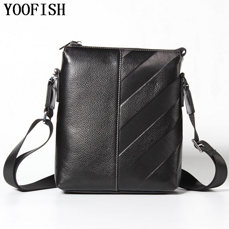 YOOFISH Genuine Leather Men Bag Fashion Men's Messenger Bags Male flap cowhide Leather bag shoulder Crossbody bags Handbags new women genuine leather handbags shoulder messenger bag fashion flap bags women first layer of leather crossbody bags