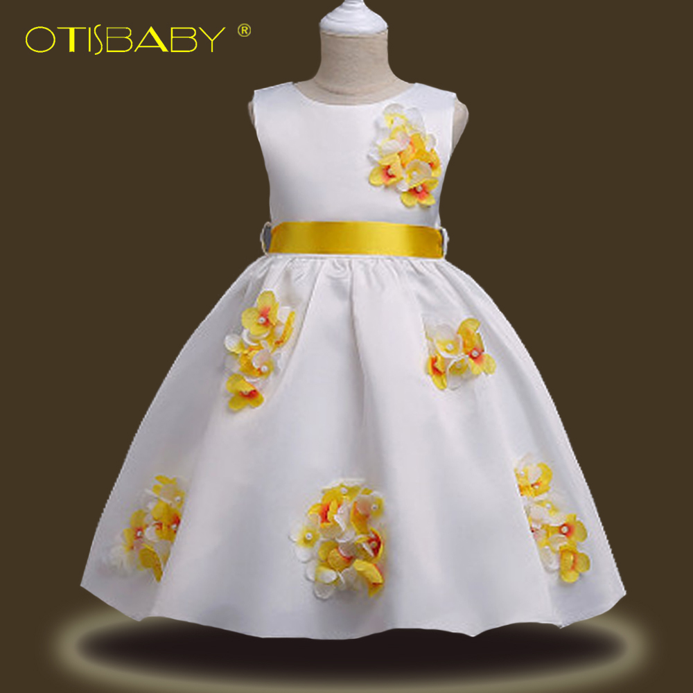 Flower Girl Petals Formal Party Princess Dresses Children Bridesmaid Costumes Kids Elegant Pageant Tutu Dress Vestido Infantil kids infant girl flower petals dress children bridesmaid toddler elegant dress vestido infantil formal party dress baby clothing