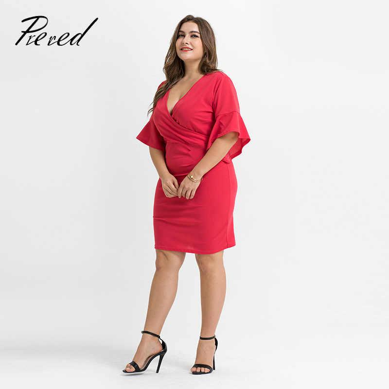 Предварительно красное платье es дамское с v-образным вырезом однотонное повседневное женское офисное Красное Платье облегающее платье плюс размер боди женские рукава-трубы
