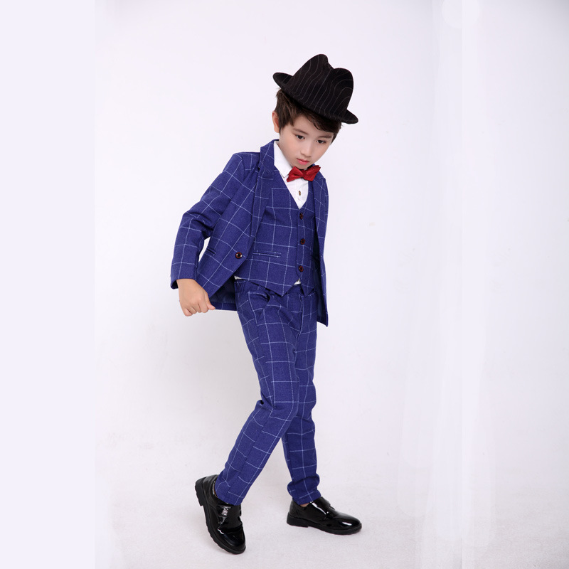 Flower Boys Formal Dress Suit Sets Children's Plaid Blazer +Vest + Pants 3PCS Clothing Sets Kids Wedding Party Banquet Costume boys formal plaid suit wedding clothes fashion children party clothing sets spring autumn baby classic gift costume kid hot sale