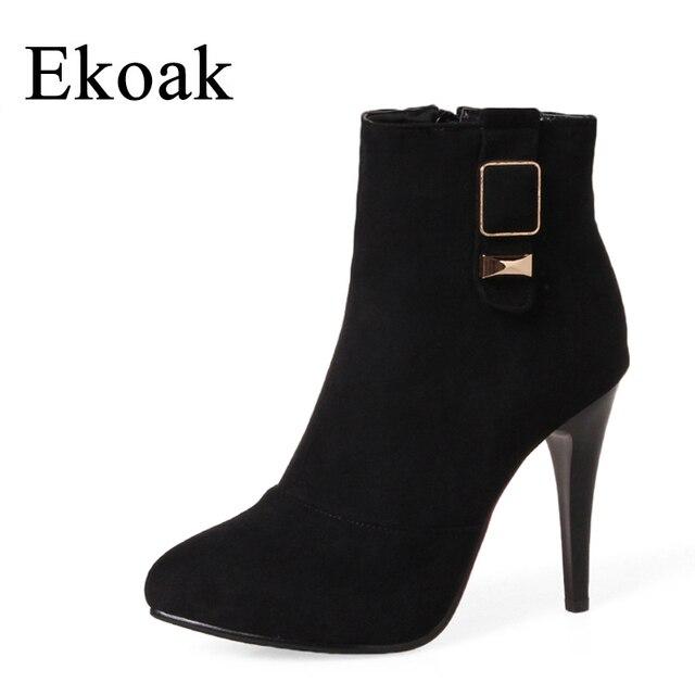 Ekoak/новинка осень 2017 г. искусственная ботинки из замши Для женщин мода Zip Ботильоны для Женские, дамские ботинки с металлической женская обувь на высоком каблуке