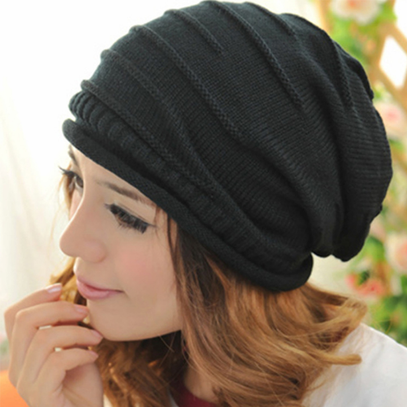 Women Men Winter Hat Knitted Wool Cap Unisex Folds Casual Beanies Solid Color Hip-Hop Skullies Beanie Hat Woman