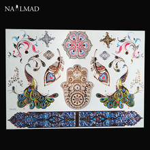 1 Sheet Colorful Feather Peacock Temporary Tattoo Waterproof Paste Mandala Tattoo Decals Body Art Henna Tattoo Stickers YH075