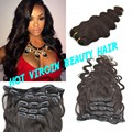 2016 Hot Sell Clip In Body Wave Hair Brazilian Virgin Clip In Hair Extensions Full Head Clip on Human Hair Weaves Virgin Hair