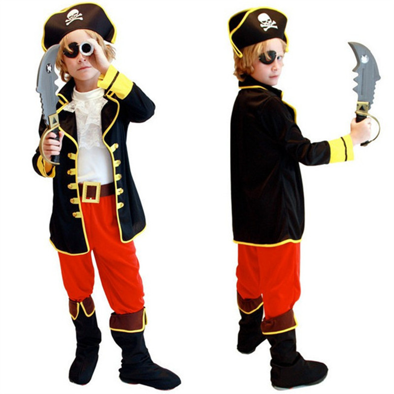 Children's day Costumes Kids Boys Pirate Costume Cosplay set for Children Christmas New Year Purim For Kids Children(no weapons)