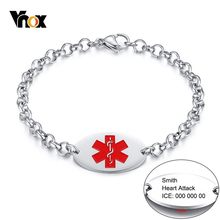 Vnox TYPE 1 DIABETES Medical Alert Bracelets for Women Man Free Custom Engrave Stainless Steel ID Tag Cable Chain Jewelry(China)