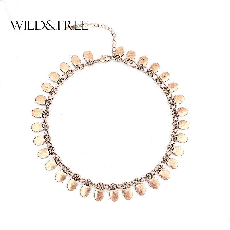 cb93bbe9bda1 Nueva llegada de las mujeres Punk aleación de Zinc gargantilla Collar  Vintage oro plateado colgante de Metal Oval moda gargantilla Collar