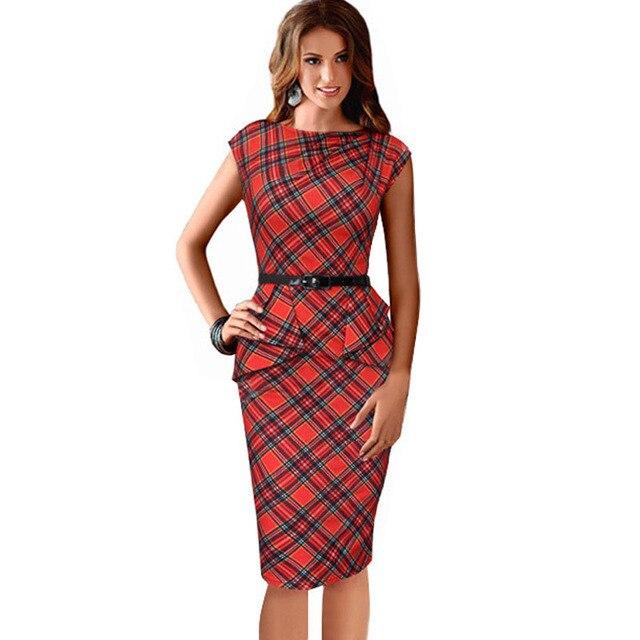 ea1b65f86c4 Robes 2016 AliExpress Hot nouveaux Européenne Américaine sans manches robe  grande taille mince robe à carreaux