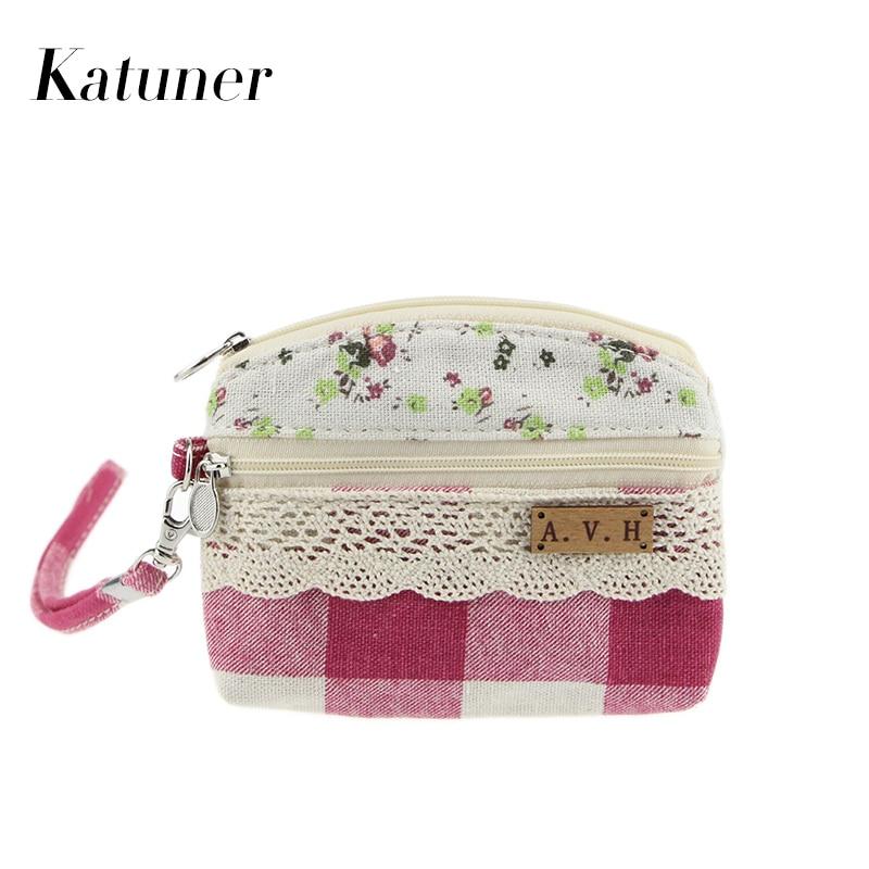 Katuner New Double Zipper Pouch Canvas Children Coin Purse For Girls Kids Wallet Women Clutch Card Bag Monedero Mujer KB027