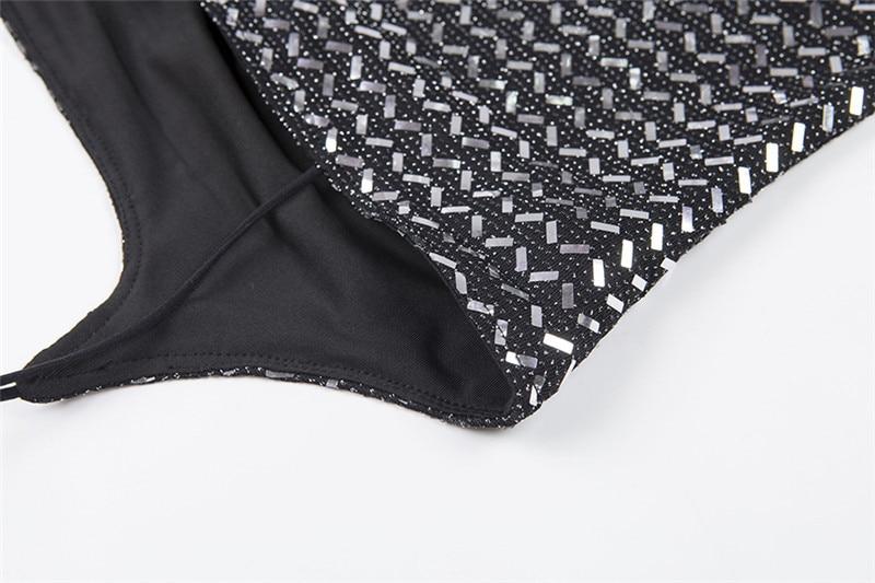 Forefair Summer Mini Sequin Dress Clubwear Party Black Off Shoulder (10)