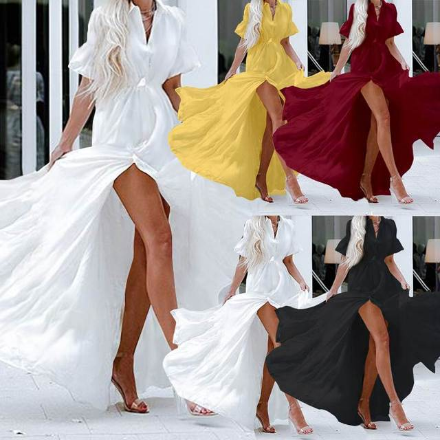 Celmia Bohemian White Ruffled Dress Women Short Sleeve Button Casual Split Sexy Maxi Long Vestidos Swing Party Dress Plus Size 2