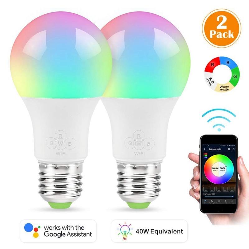 Smart light bulb, 2 piece wake-up WiFi light, mobile phone control color adjustable soft, cool white, RGB LED bulb 4.5W (40W eSmart light bulb, 2 piece wake-up WiFi light, mobile phone control color adjustable soft, cool white, RGB LED bulb 4.5W (40W e