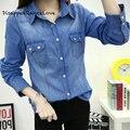 Novo 2017 Roupas Femininas Blusa de Mangas Compridas Camisa de Brim Azul Do Vintage Nostálgico Jeans Femininas Camisa camisa