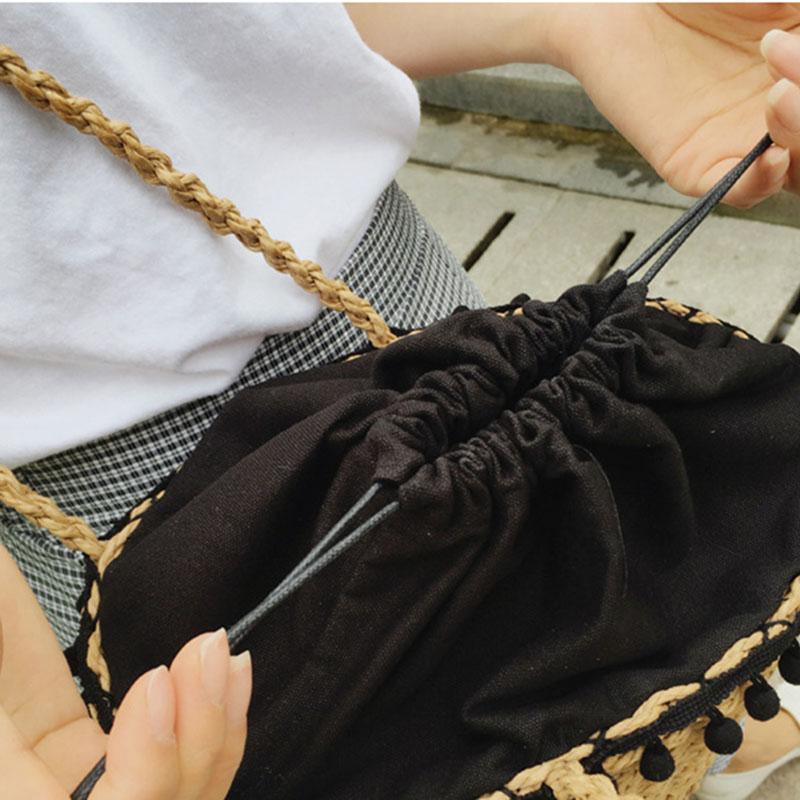 REREKAXI New Bohemian Beach Bag for Women Cute Handmade Straw Bags Summer Grass Handbags Drawstring Basket Bag Travel Tote 12