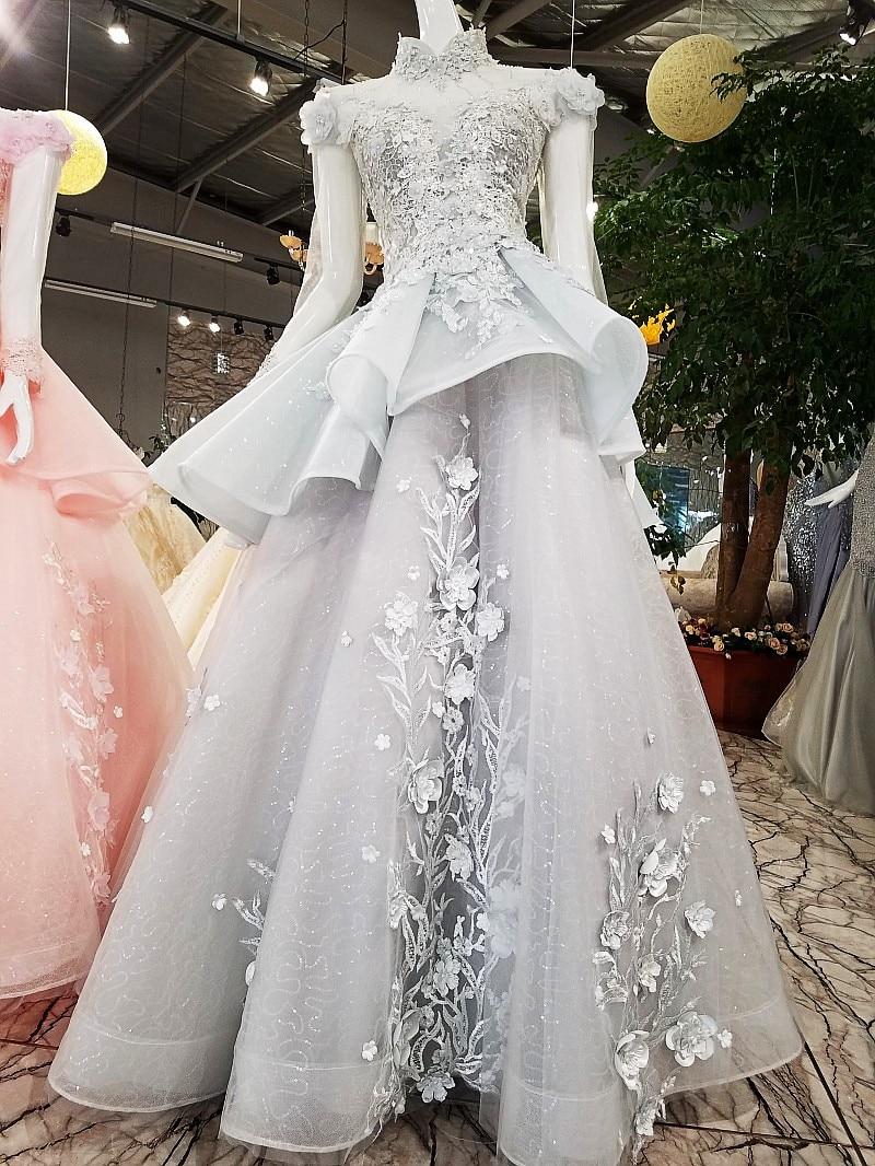 Moslim Elegant Lichtgrijs Lange Prom Dresses 2018 Hoge Kraag Volledige Mouwen 3D Bloem Prom Jassen Crystal Applicaties Abendkleider - 2