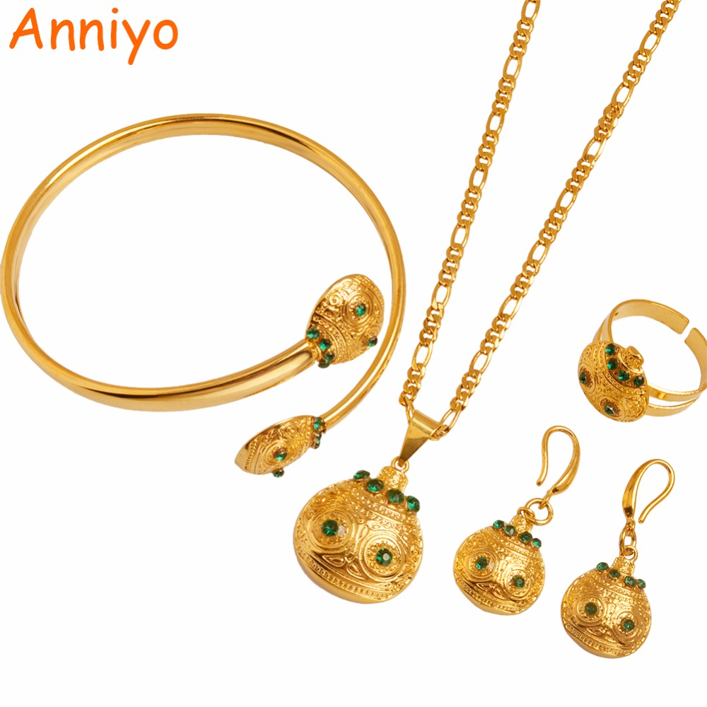Anniyo Gold Color PNG Pendant Necklaces Earrings Bangle Ring sets for Women Papua New Guinea Wedding Jewelry Gift #102406