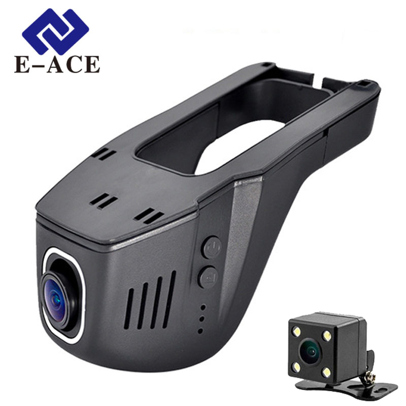 E-ACE Tersembunyi Mini Wifi Kamera Mobil Dvr Dual Lens Auto Perekam Video Dashcam Registrator DVR Dash Cams Full HD 1080 P Dekat Visi
