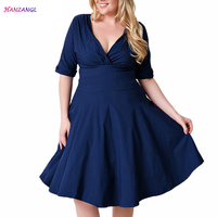 HANZANGL Plus Size Clothing Summer Women Dress V Neck Half Sleeve Solid Bottoming Dress Casual Party