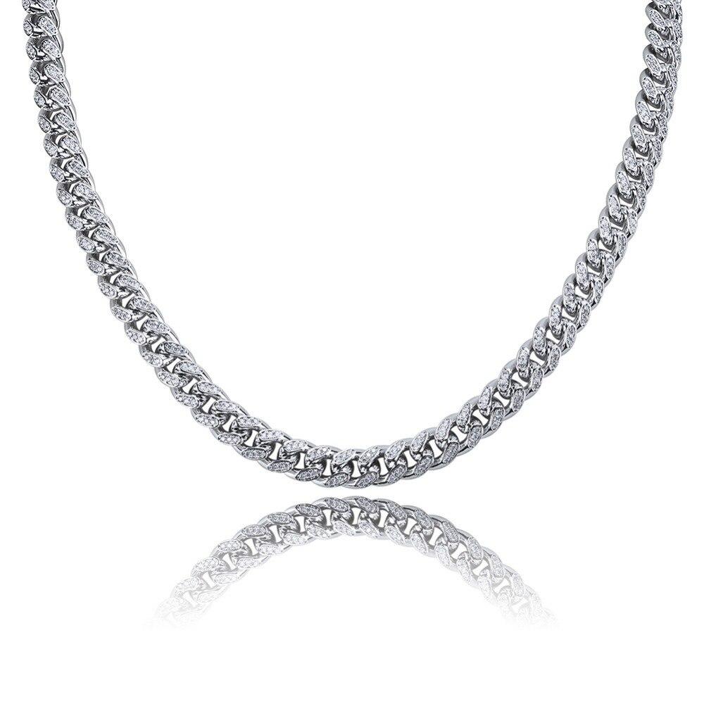 JINAO Miami 10mm or argent couleur cubique Zircon chaîne cubaine breloque collier pour hommes Micro Pave Hip Hop bijoux à la mode cadeaux - 2