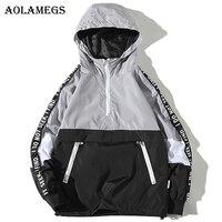 Aolamegs Jackets Men Patchwork Side Letter Hooded Jacket Tracksuit High Street Coats Hip Hop Male Streetwear