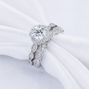 Image 3 - Newshe 2.6Ct White Round Cut AAA CZ Vintage Wedding Ring Set Genuine 925 Sterling Silver Engagement Rings For Women JR4891