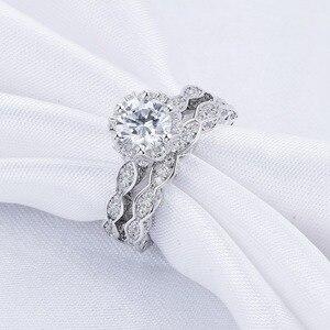 Image 3 - Newshe 2.6Ct Wit Ronde Cut Aaa Cz Vintage Wedding Ring Set Echt 925 Sterling Zilveren Engagement Ringen Voor Vrouwen JR4891