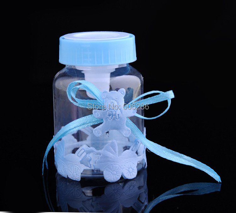 100pcs/lot Baby Feeding Bottle Candy Box Wedding Favors and Gifts Baby Shower Baptism Decoration