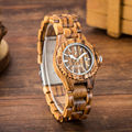 Fashion Handmade Women Dress Wood Watch Natural Zebra Sandalwood Wristwatch For Woman Japan Quartz Analog Wooden Wateches