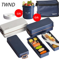 830CC Japan style bento box plastic lunch box simple microwaveble tableware with bags soup box spoons chopsticks 28