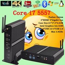 Безвентиляторный Мини-ПК Linux Windows 10 Intel Core i7 Бродуэлла 5557U макс 3.4 ГГц Графики Iris 6100 HTPC 4 ГБ RAM наилучшую конфигурацию usb