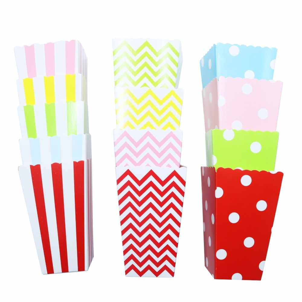 6pcs/lot Baby Shower Decoration Popcorn Boxes Kids Happy Birthday Party Boy and Girl Strip Polka Dot Chevron Movie Home Decor