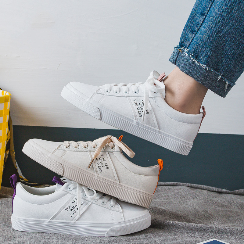 Woman Leather Shoes 2019 New Spring Fashion Casual Soild Leather Shoes Letter Women Casual Flats Vulcanize Shoes SneakersWoman Leather Shoes 2019 New Spring Fashion Casual Soild Leather Shoes Letter Women Casual Flats Vulcanize Shoes Sneakers