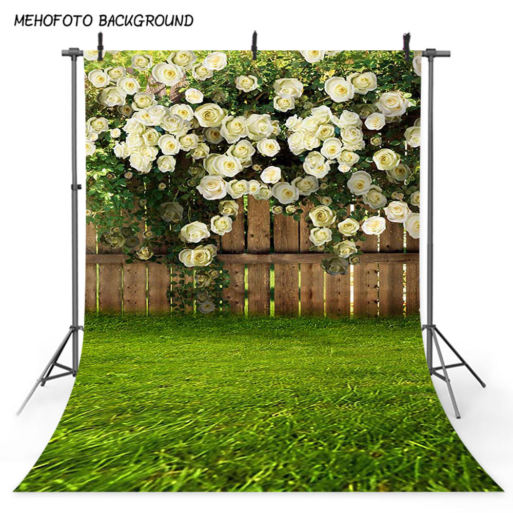 Mehofoto Spring Scenery Photo Background Green Grass Flower Fence Photography Backdrop Easter Sunday Art Portrait Backdrops 377 image