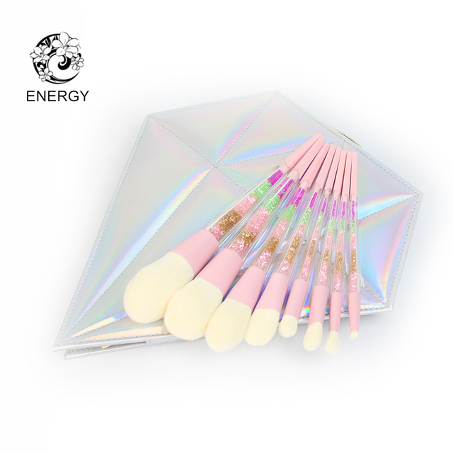 ENERGY Brand 8pcs Colorful Diamond Handle Rainbow Makeup Brushes Make Up Brush Set Brochas Maquillaje Pinceaux Maquillage B08SP