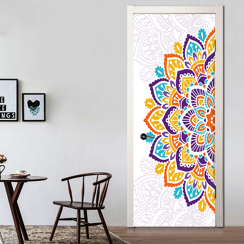 77*200cm Wonderful A Half Colorful Mandala Flower Oil Painting Wall Sticker Wallpaper Door Stickers Home Decor YMT072