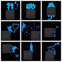 Blue-light Luminous Switch Sticker Home Decor Cartoon Glowing Wall Stickers Dark Glow Decoration Sticker, Cat/Fairy/Moon Stars..