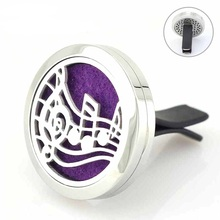 30mm Music Note Car Diffuser Perfume Locket Round Magnetic Stainless Steel Essential Oil Floating Lockets 5pcs