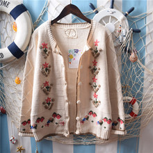 dec9966dc Vintage Forest Mori Girl Manual Hook Flower Embroidery Jacquard Knit  Cardigan Sweet Lolita Sweater Coat Women