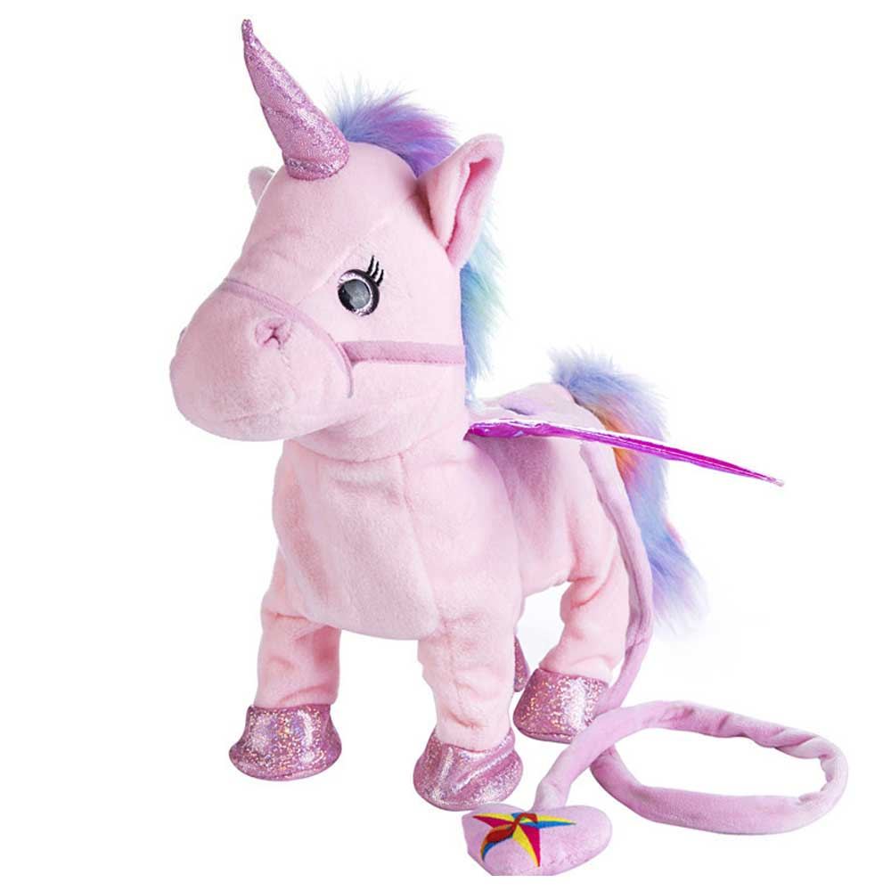 Robot Unicorn Electric Unicorn Plush Animal Pet Controled By Leash Whinny Walk With Music Plush Toys For Children Birthday Gift