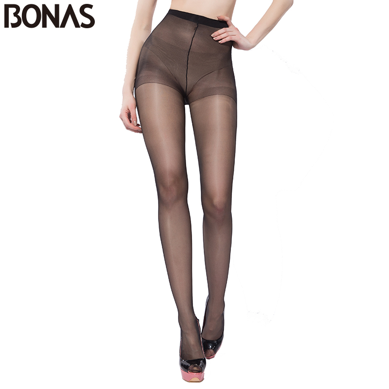 BONAS 15D Summer Nylon Seamless Pantyhose Womens Black Thin Tights Fashion Stretchy Hosiery Spandex Pantyhose Solid Color Female